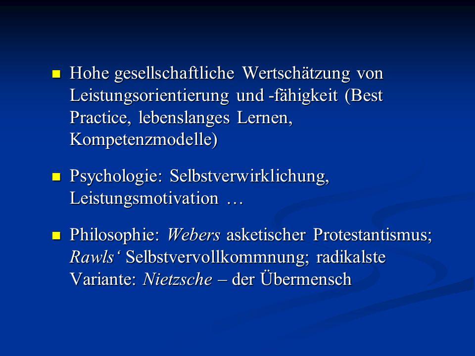 Hohe gesellschaftliche Wertschätzung von Leistungsorientierung und -fähigkeit (Best Practice, lebenslanges Lernen, Kompetenzmodelle)