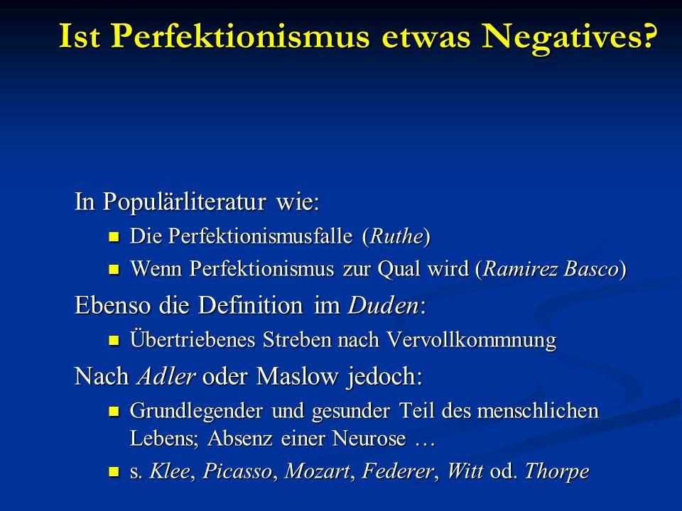 Ist Perfektionismus etwas Negatives