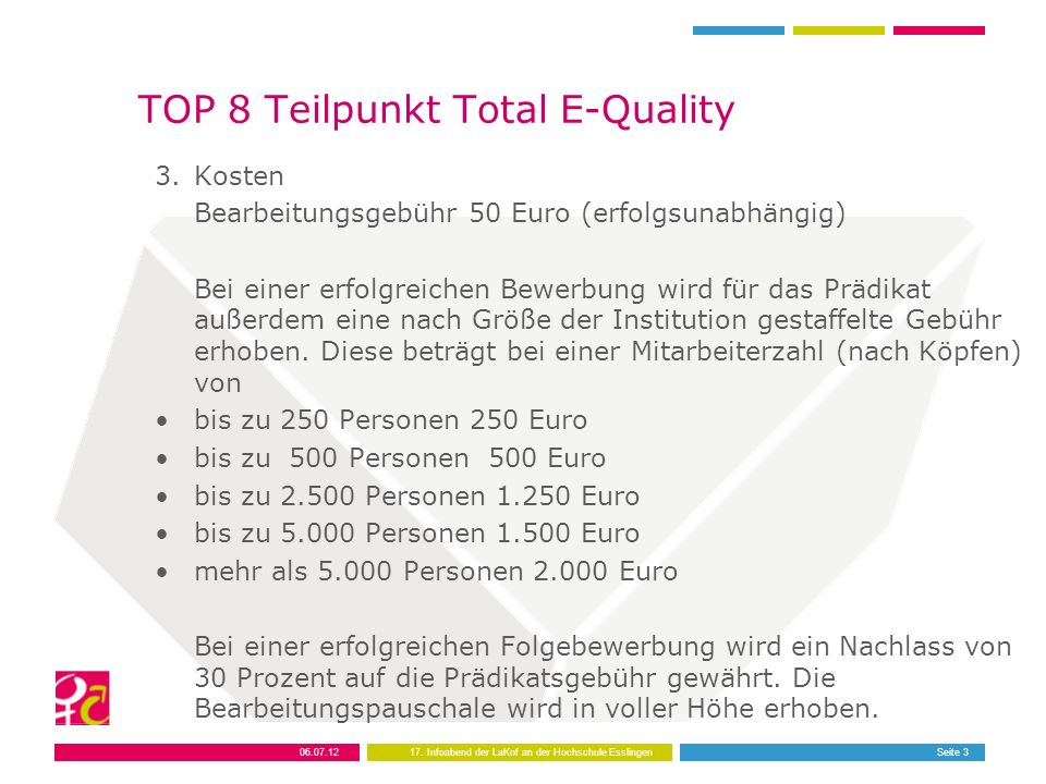 TOP 8 Teilpunkt Total E-Quality