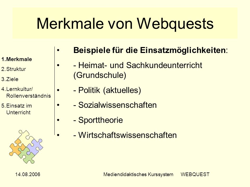 Merkmale von Webquests