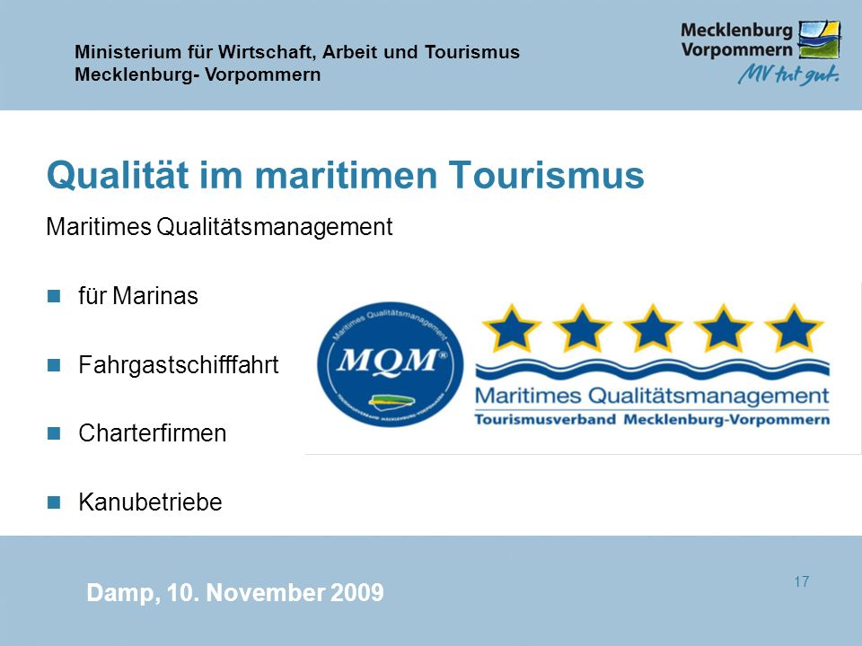 Qualität im maritimen Tourismus