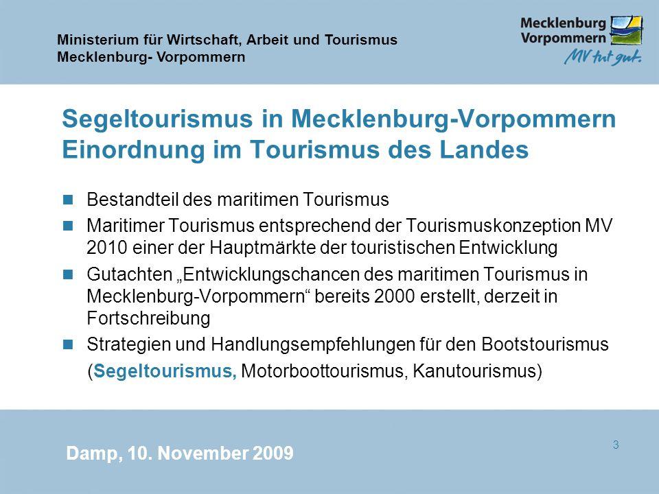 Segeltourismus in Mecklenburg-Vorpommern Einordnung im Tourismus des Landes