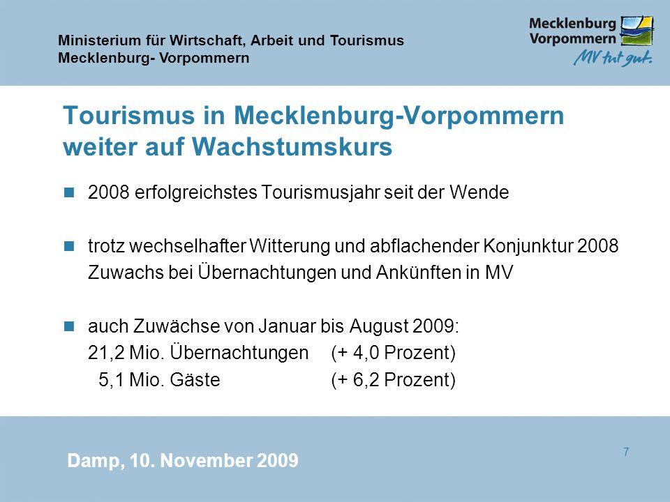 Tourismus in Mecklenburg-Vorpommern weiter auf Wachstumskurs