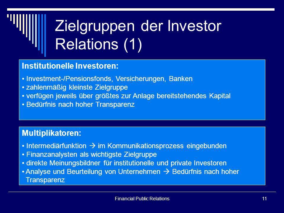 Zielgruppen der Investor Relations (1)