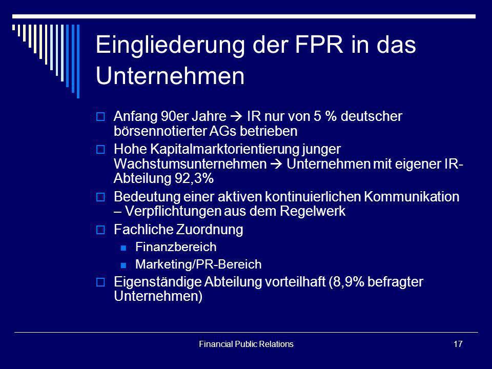 Eingliederung der FPR in das Unternehmen
