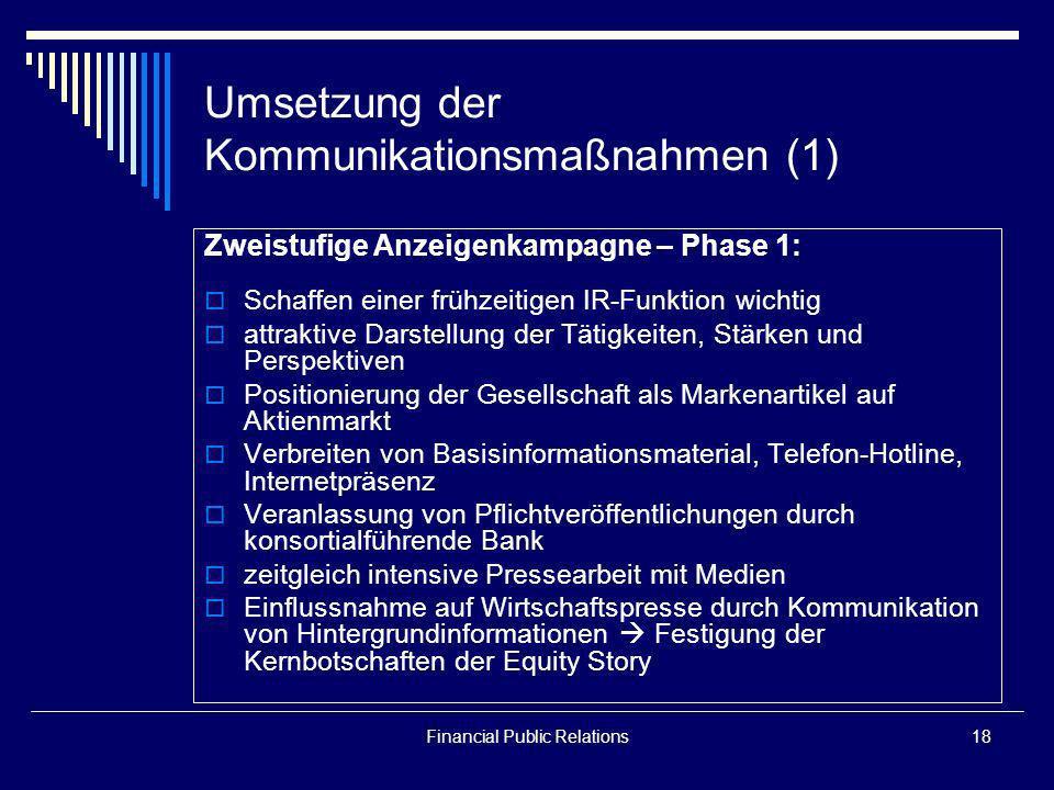 Umsetzung der Kommunikationsmaßnahmen (1)