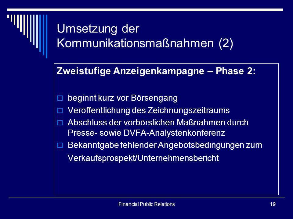 Umsetzung der Kommunikationsmaßnahmen (2)