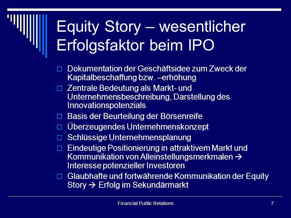 Equity Story – wesentlicher Erfolgsfaktor beim IPO