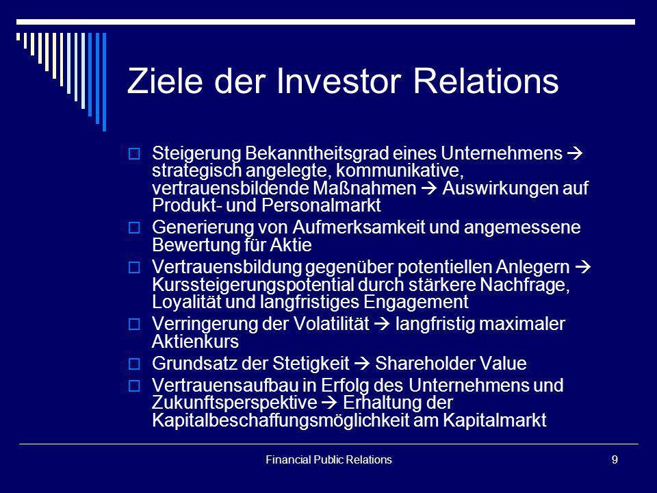 Ziele der Investor Relations