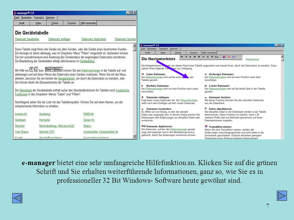 e-manager bietet eine sehr umfangreiche Hilfefunktion an
