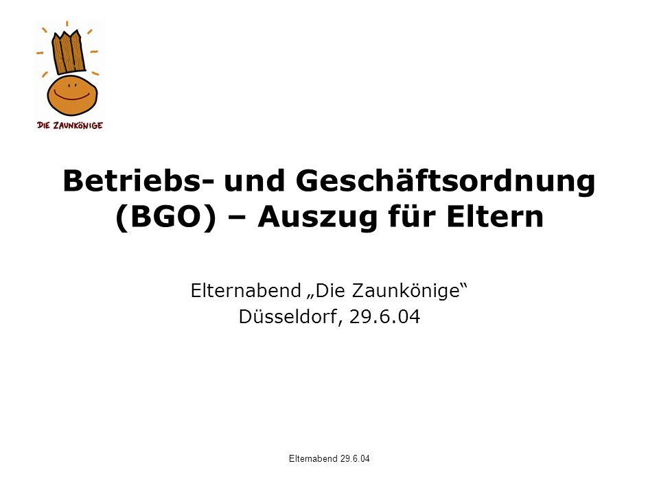 Betriebs- und Geschäftsordnung (BGO) – Auszug für Eltern
