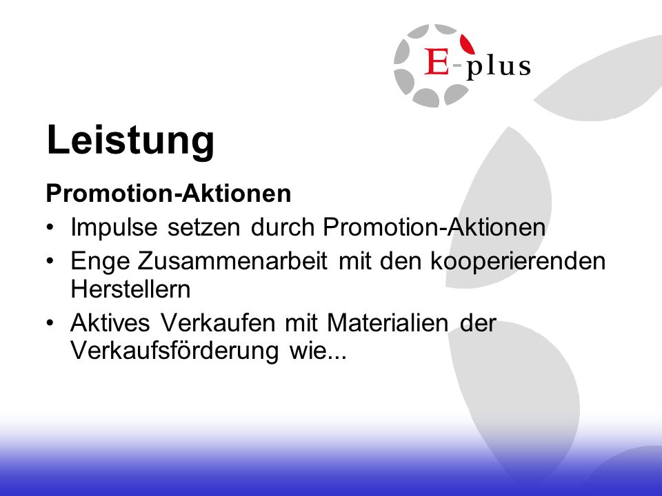 Leistung Promotion-Aktionen Impulse setzen durch Promotion-Aktionen