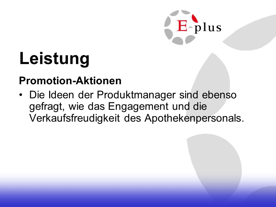 Leistung Promotion-Aktionen