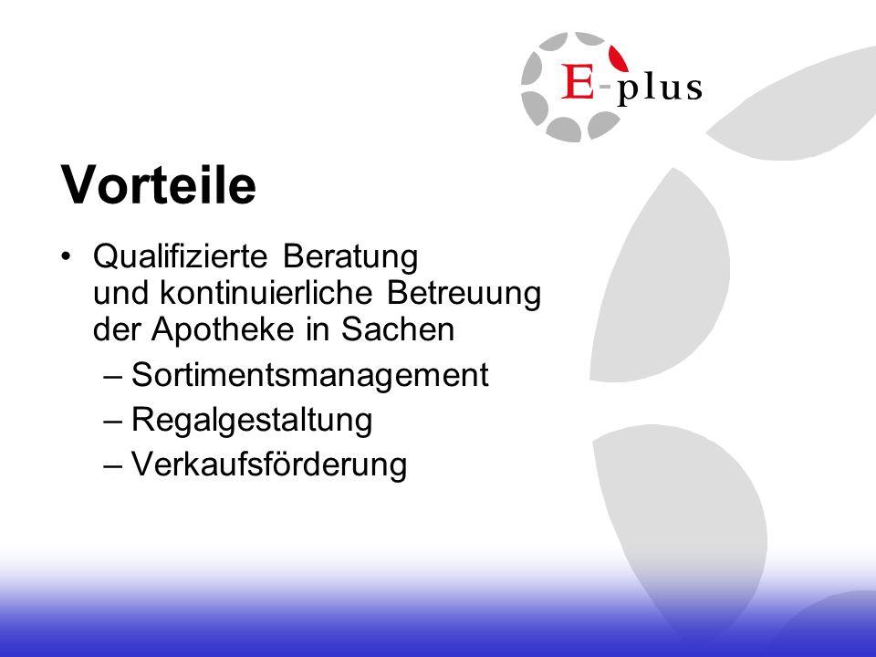 Vorteile Qualifizierte Beratung und kontinuierliche Betreuung der Apotheke in Sachen. Sortimentsmanagement.