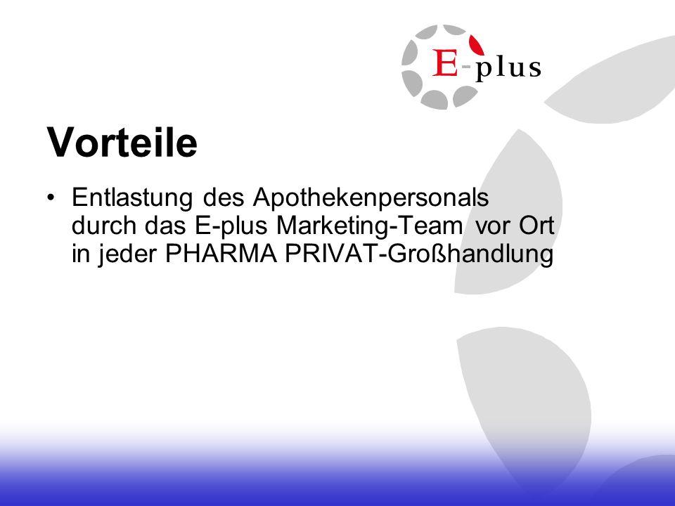 VorteileEntlastung des Apothekenpersonals durch das E-plus Marketing-Team vor Ort in jeder PHARMA PRIVAT-Großhandlung.