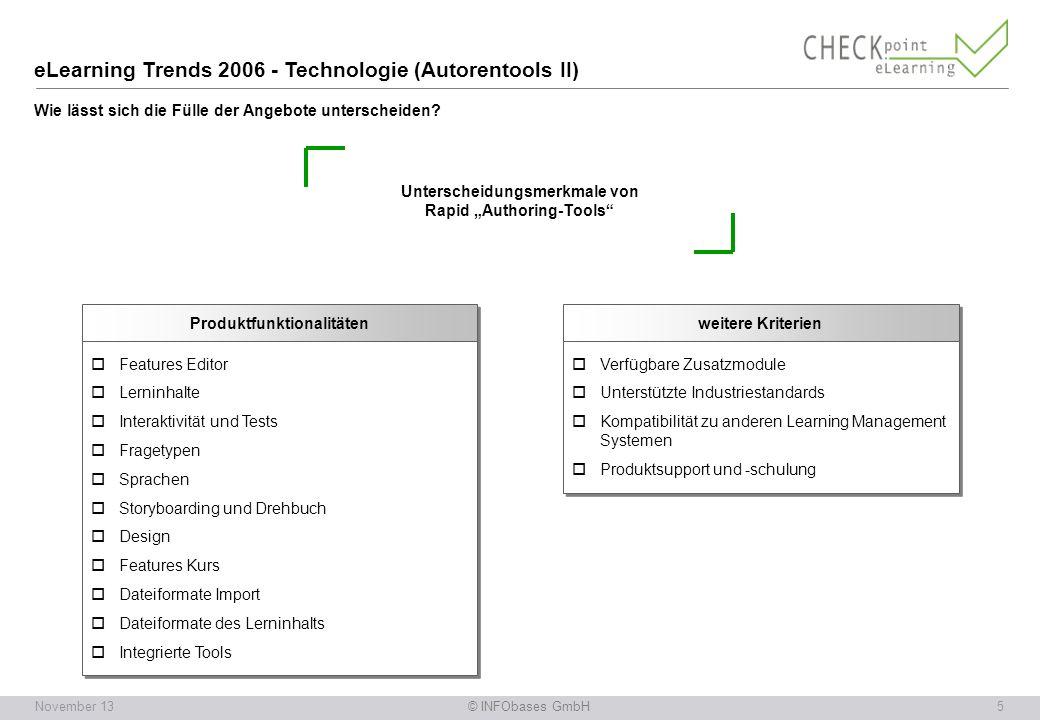 eLearning Trends 2006 - Technologie (Autorentools II) Wie lässt sich die Fülle der Angebote unterscheiden