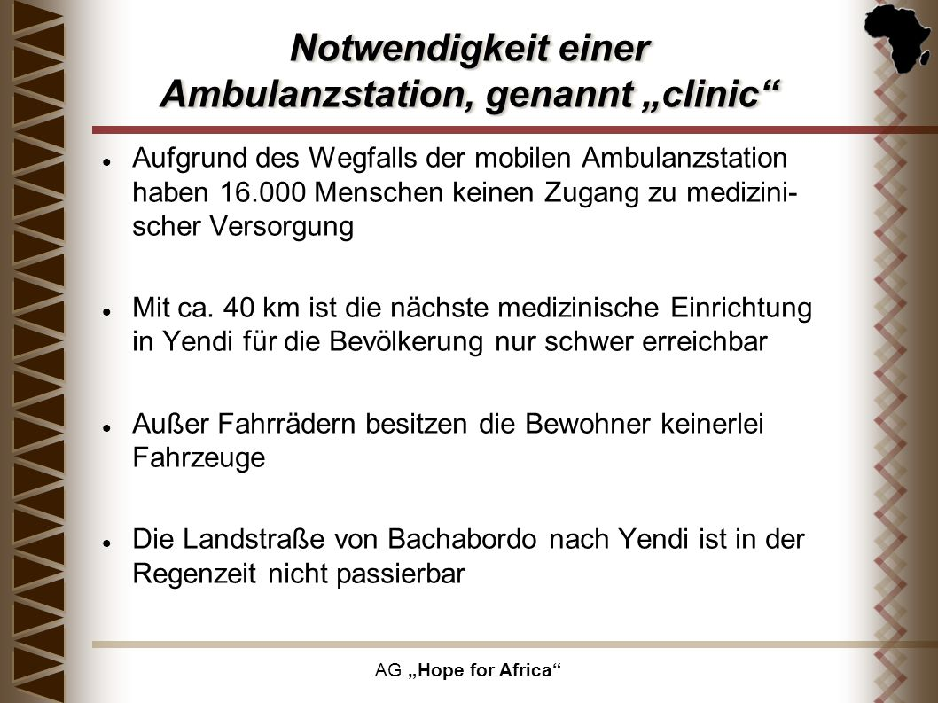 """Notwendigkeit einer Ambulanzstation, genannt """"clinic"""