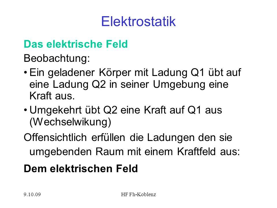 Elektrostatik Das elektrische Feld Beobachtung: