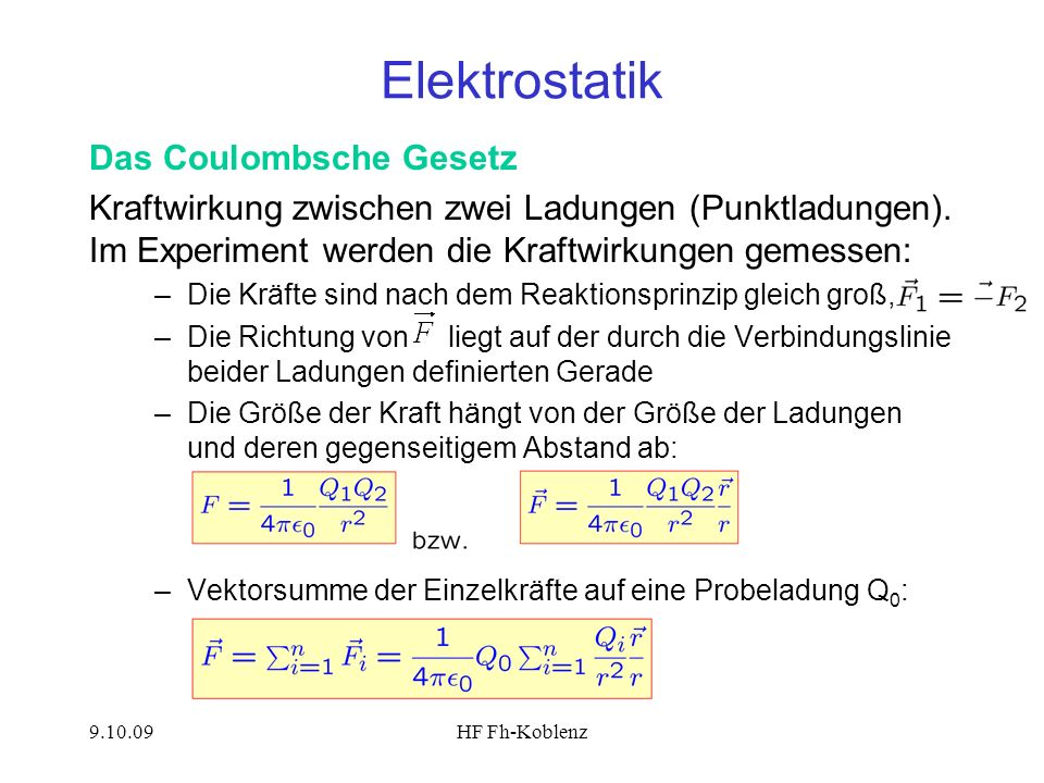 Elektrostatik Das Coulombsche Gesetz