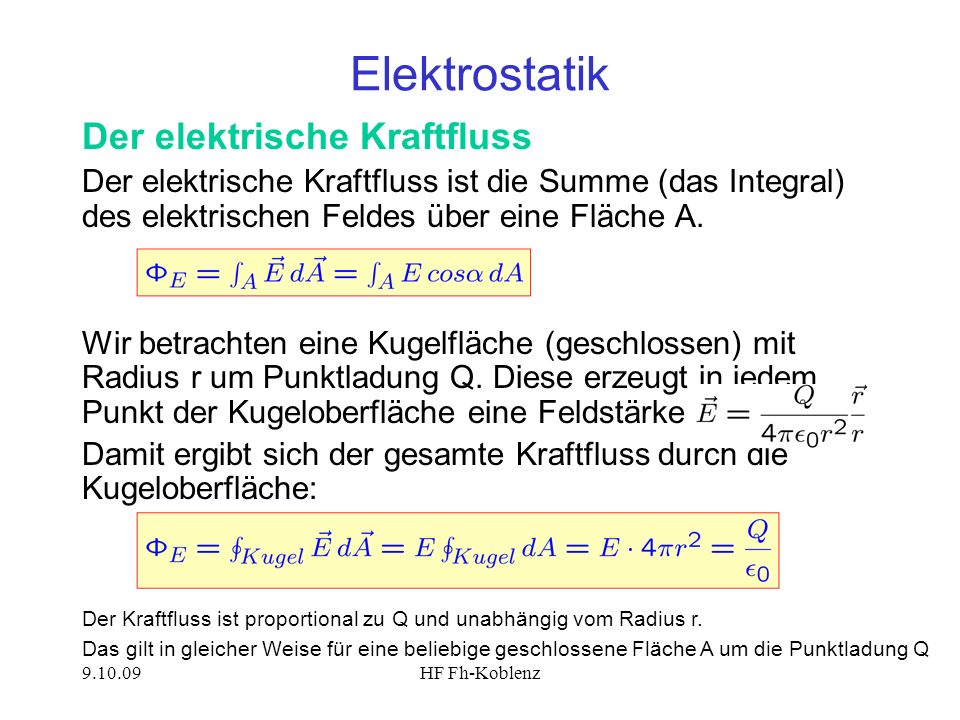 Elektrostatik Der elektrische Kraftfluss