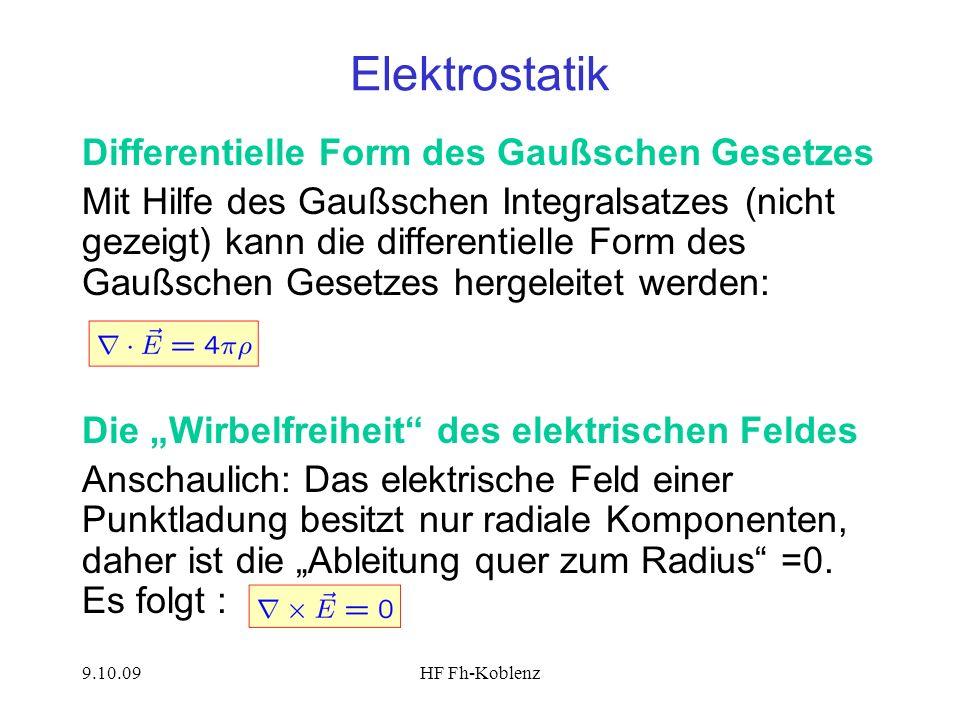 Elektrostatik Differentielle Form des Gaußschen Gesetzes