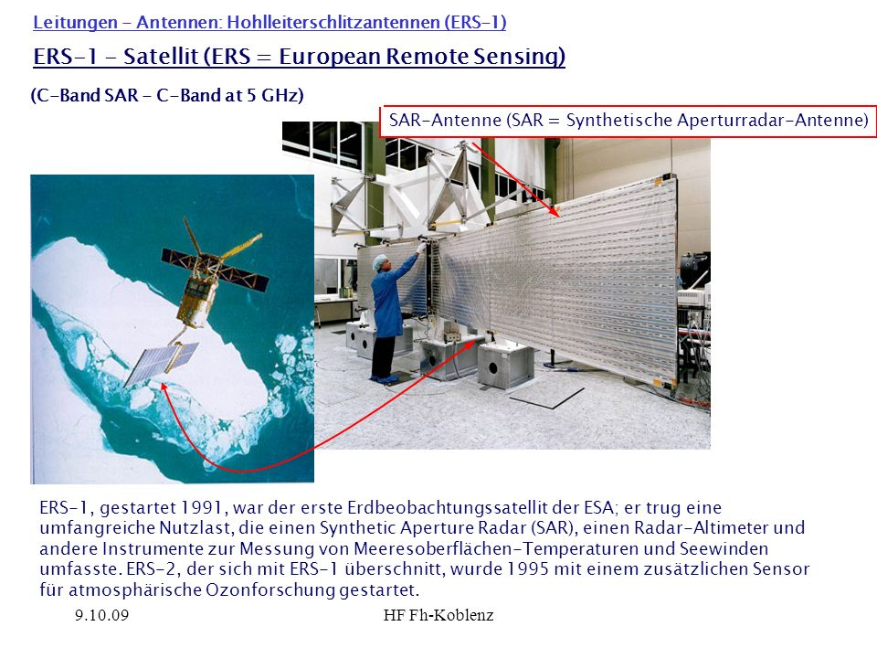 ERS-1 - Satellit (ERS = European Remote Sensing)