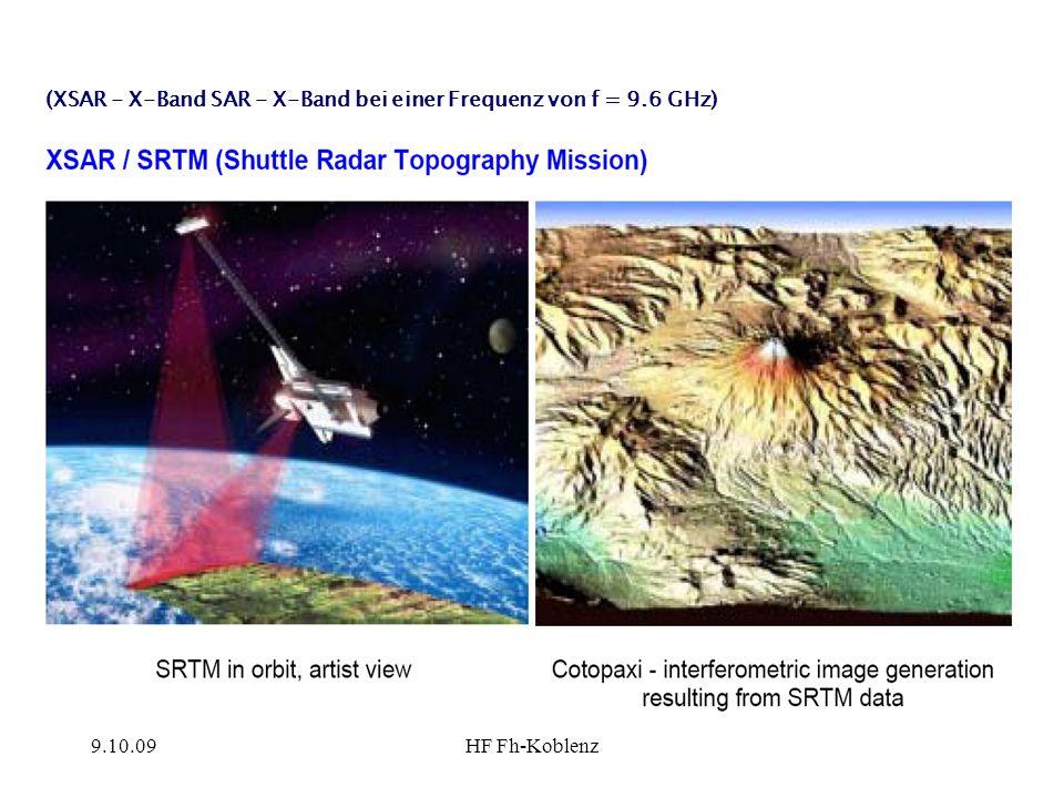 (XSAR - X-Band SAR - X-Band bei einer Frequenz von f = 9.6 GHz)