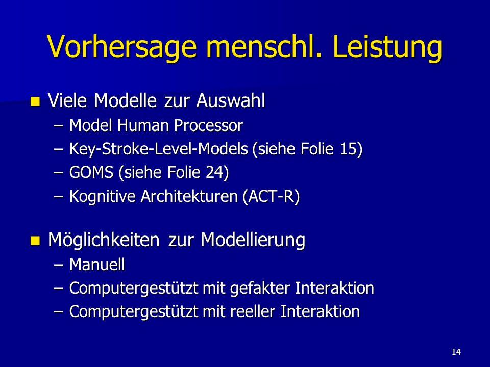 Vorhersage menschl. Leistung
