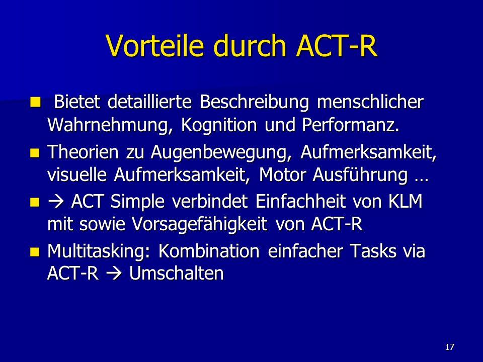 Vorteile durch ACT-R Bietet detaillierte Beschreibung menschlicher Wahrnehmung, Kognition und Performanz.