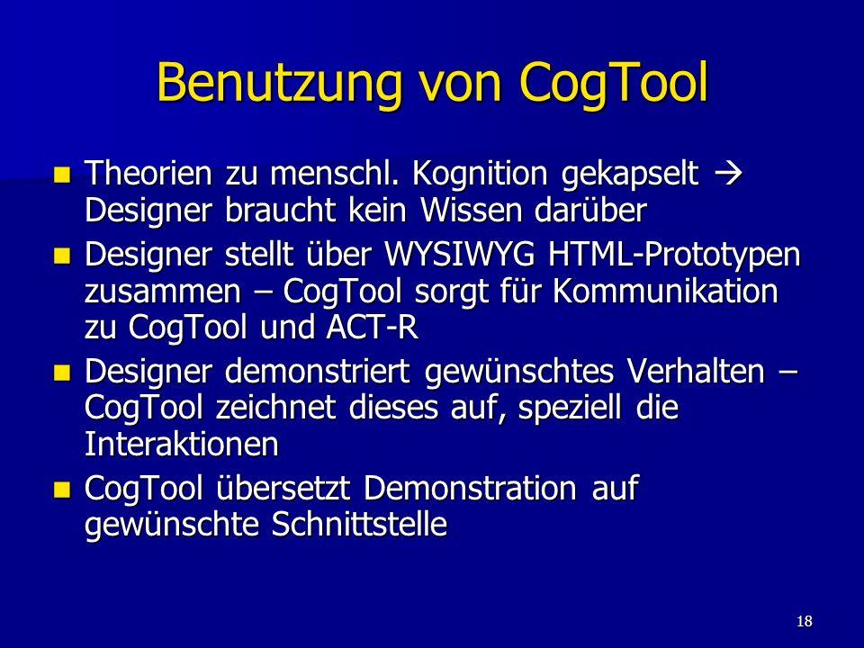 Benutzung von CogTool Theorien zu menschl. Kognition gekapselt  Designer braucht kein Wissen darüber.