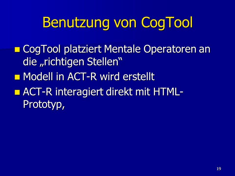 """Benutzung von CogTool CogTool platziert Mentale Operatoren an die """"richtigen Stellen Modell in ACT-R wird erstellt."""