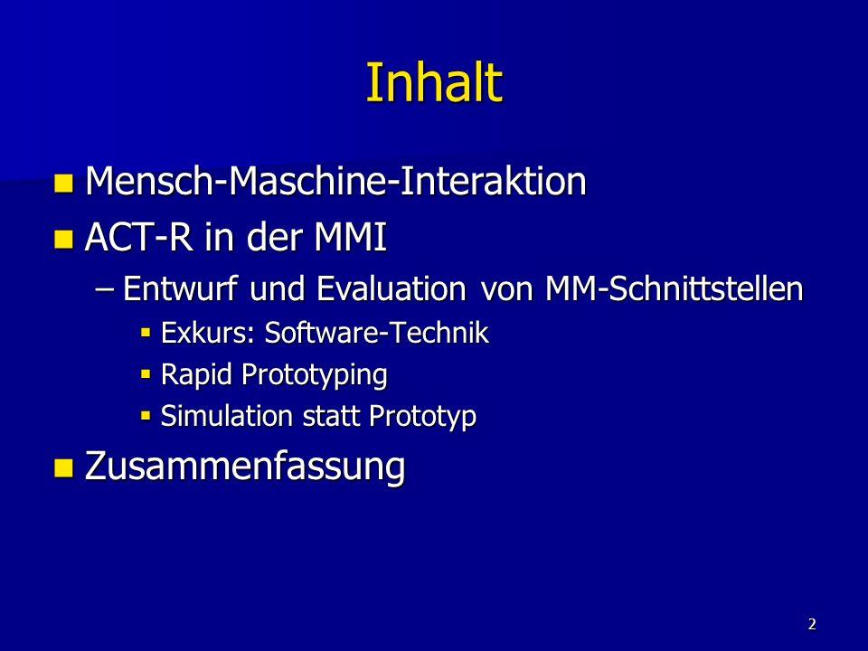 Inhalt Mensch-Maschine-Interaktion ACT-R in der MMI Zusammenfassung