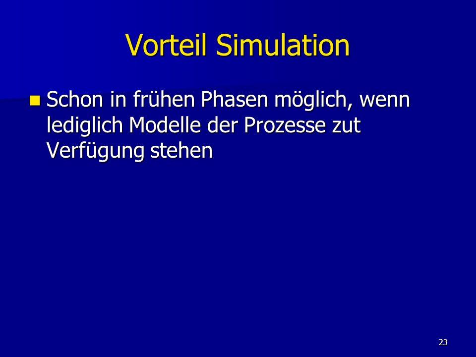 Vorteil Simulation Schon in frühen Phasen möglich, wenn lediglich Modelle der Prozesse zut Verfügung stehen.