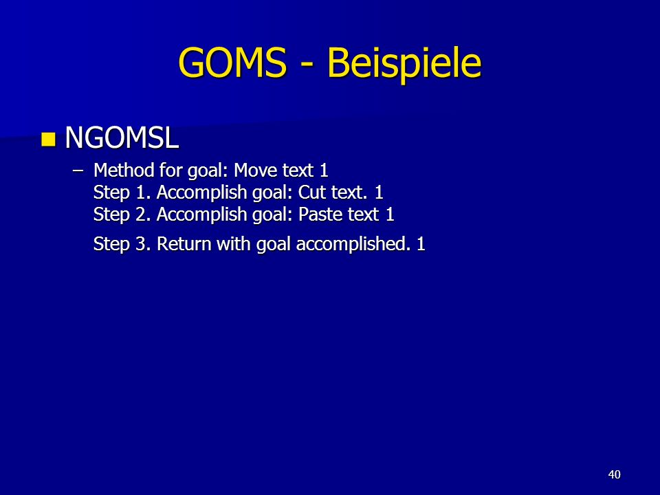 GOMS - Beispiele NGOMSL