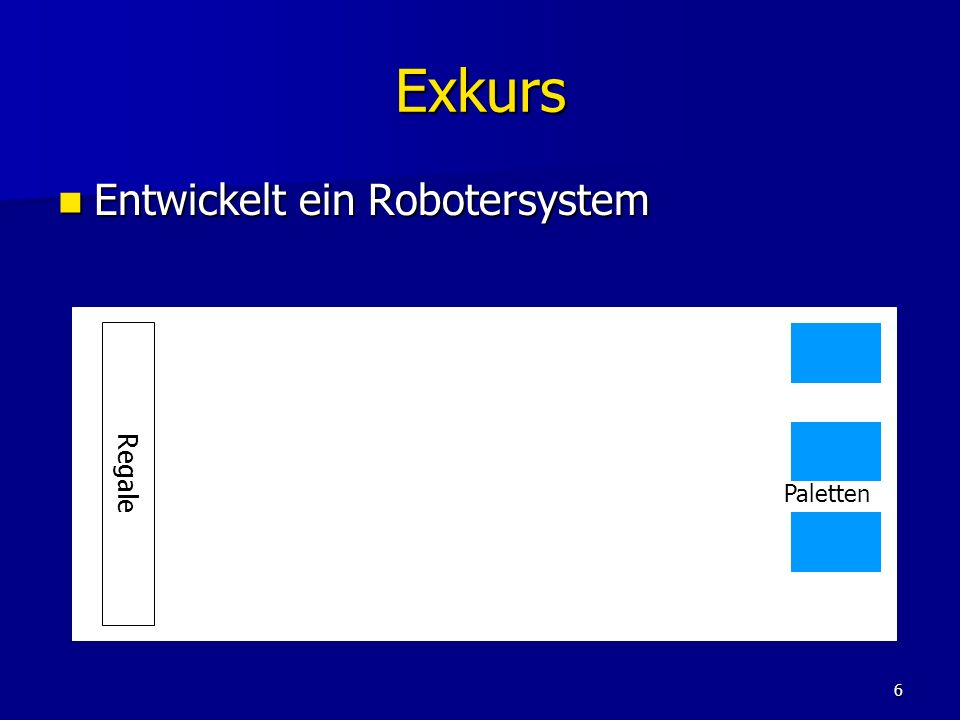 Exkurs Entwickelt ein Robotersystem Regale Paletten