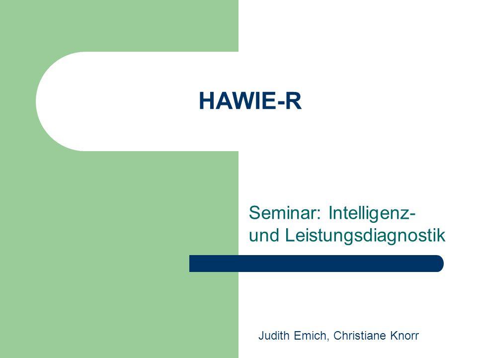 Seminar: Intelligenz- und Leistungsdiagnostik