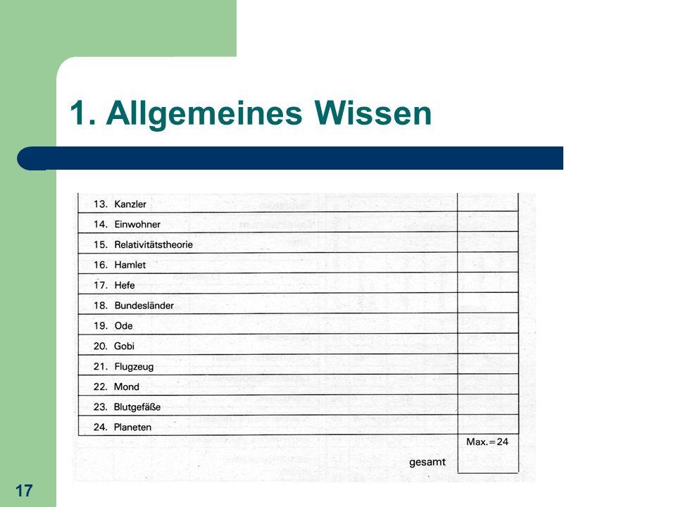 1. Allgemeines Wissen