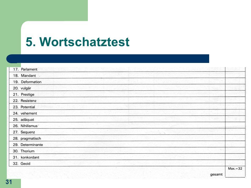 5. Wortschatztest24) vehement: 1 Punkt: heftig, stürmisch, ungestüm, impulsiv, energiegeladen, wuchtig, massiv.