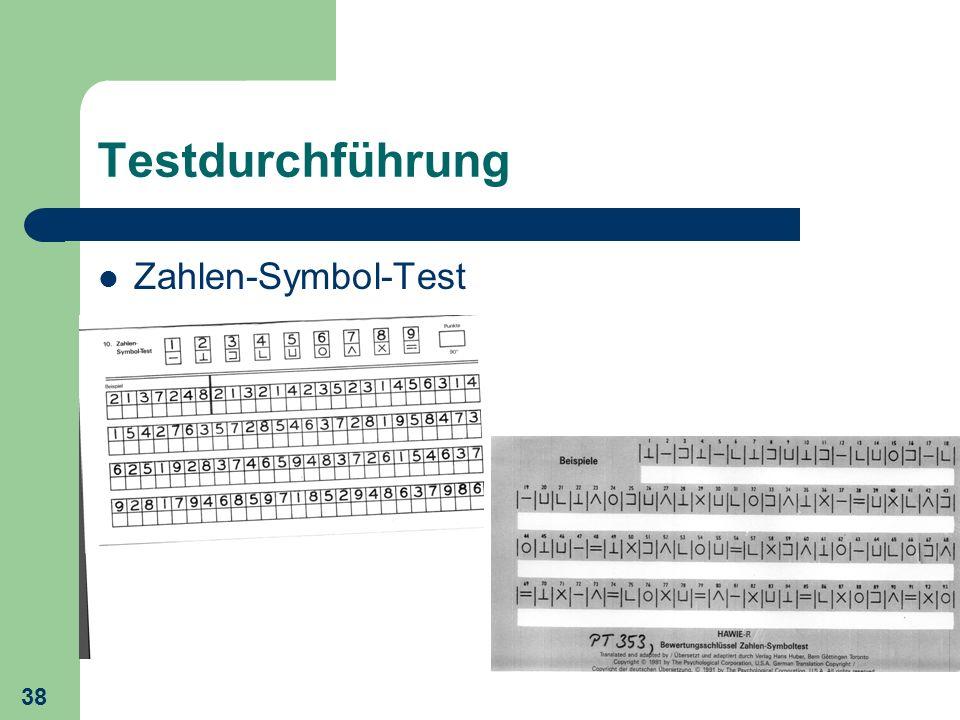 Testdurchführung Zahlen-Symbol-Test