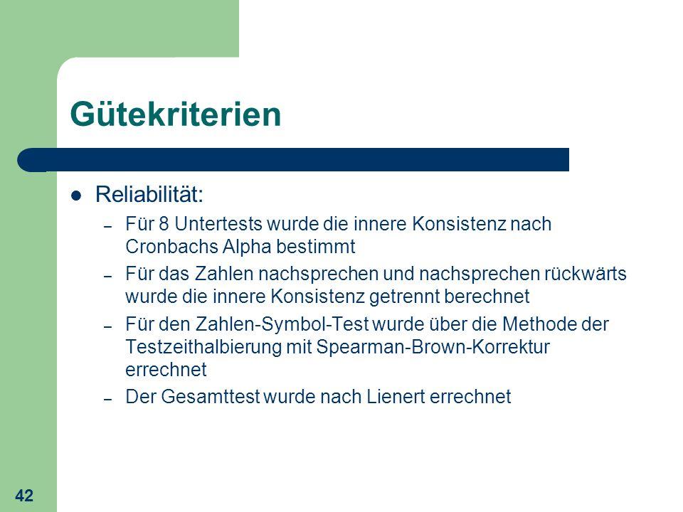 Gütekriterien Reliabilität: