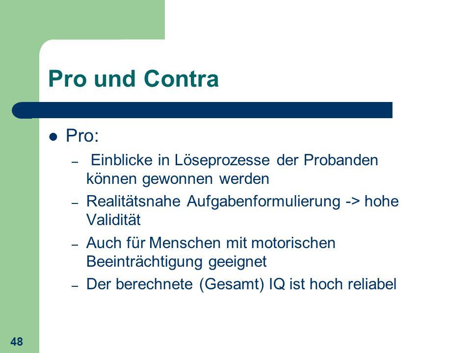 Pro und Contra Pro: Einblicke in Löseprozesse der Probanden können gewonnen werden. Realitätsnahe Aufgabenformulierung -> hohe Validität.