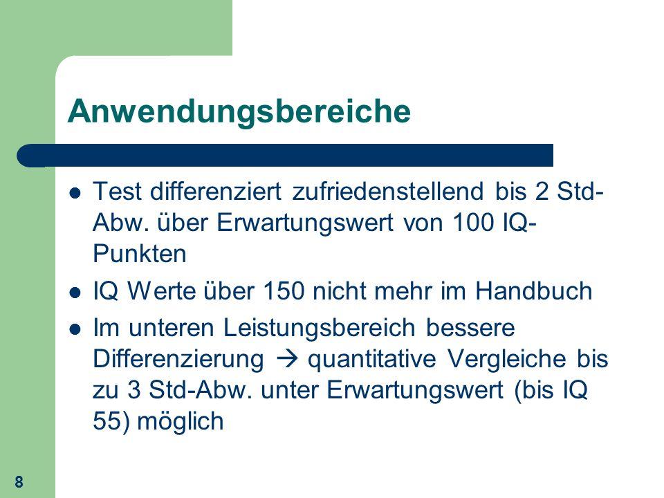 Anwendungsbereiche Test differenziert zufriedenstellend bis 2 Std-Abw. über Erwartungswert von 100 IQ-Punkten.