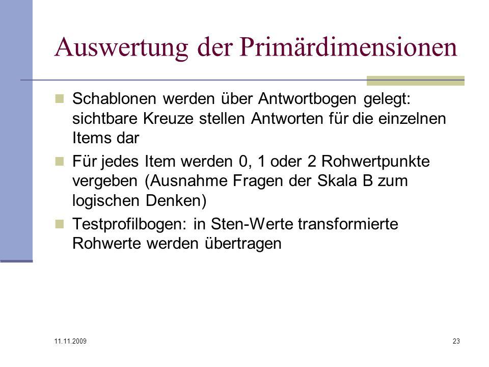 Auswertung der Primärdimensionen