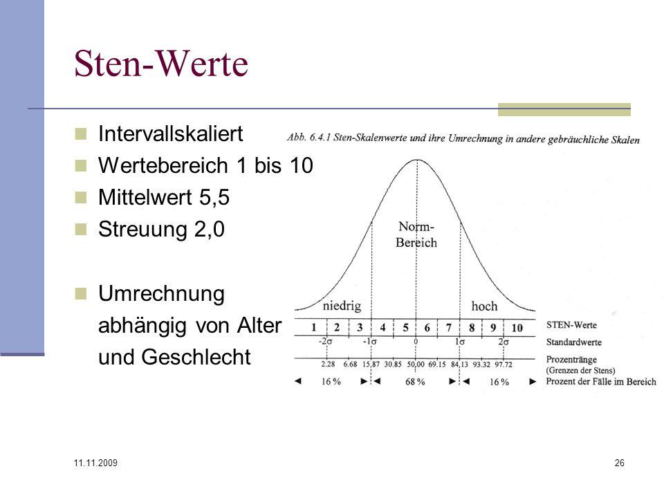 Sten-Werte Intervallskaliert Wertebereich 1 bis 10 Mittelwert 5,5