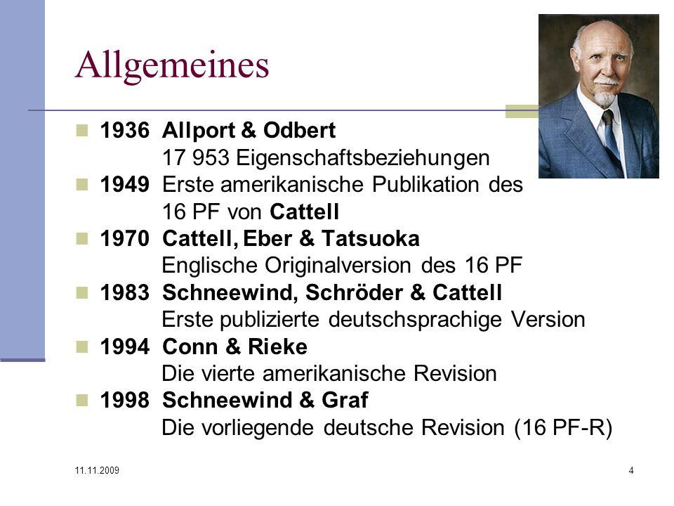 Allgemeines 1936 Allport & Odbert 17 953 Eigenschaftsbeziehungen
