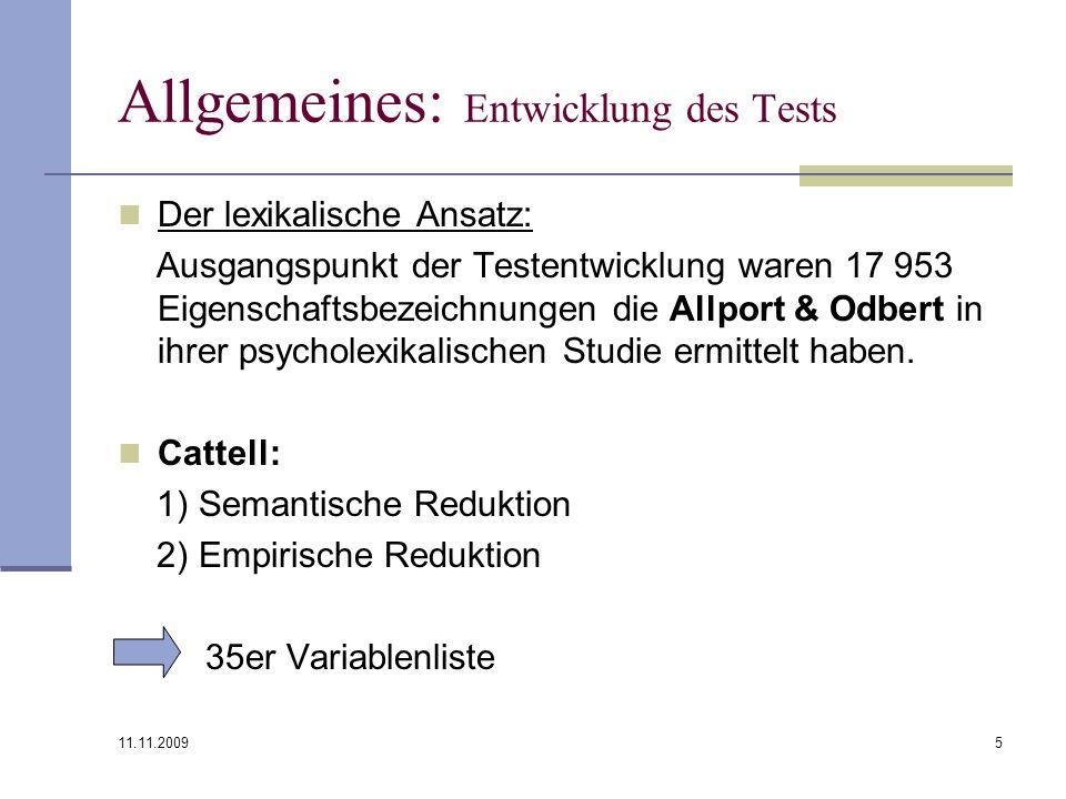 Allgemeines: Entwicklung des Tests