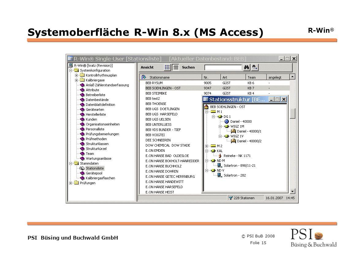 Systemoberfläche R-Win 8.x (MS Access)
