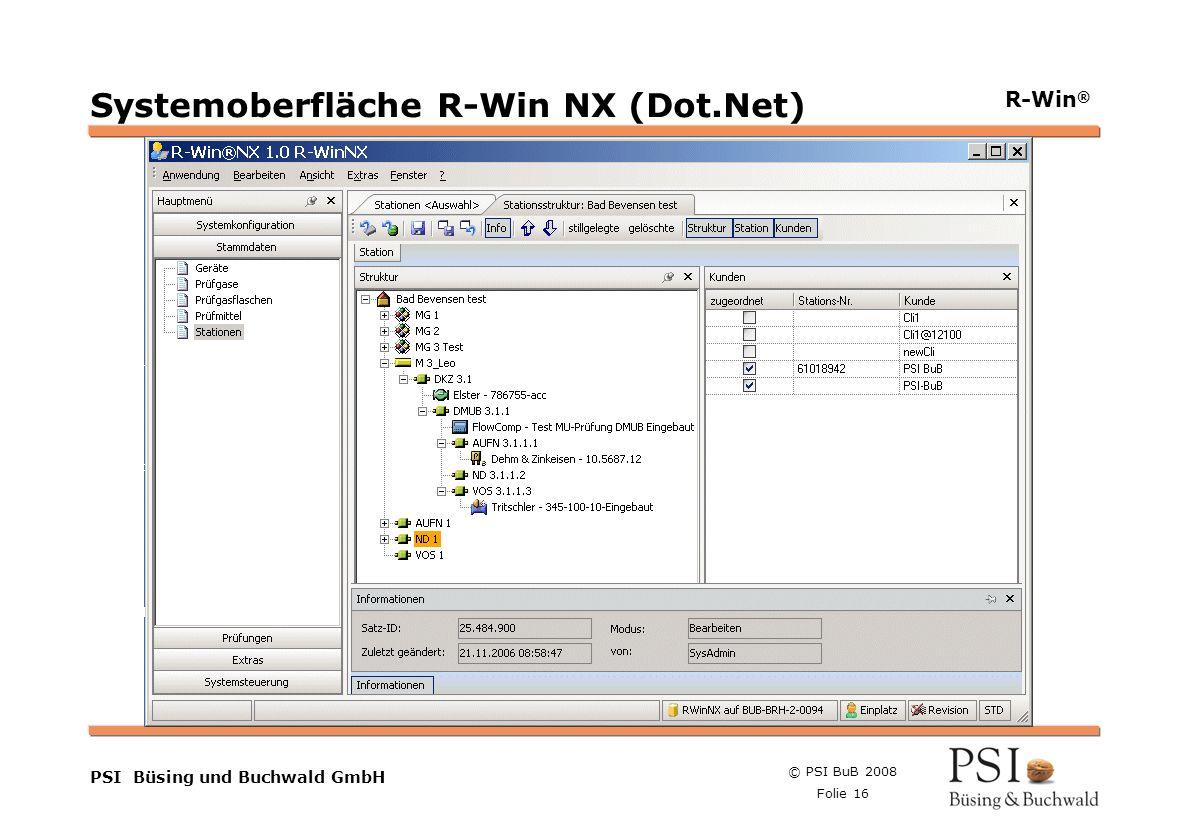 Systemoberfläche R-Win NX (Dot.Net)