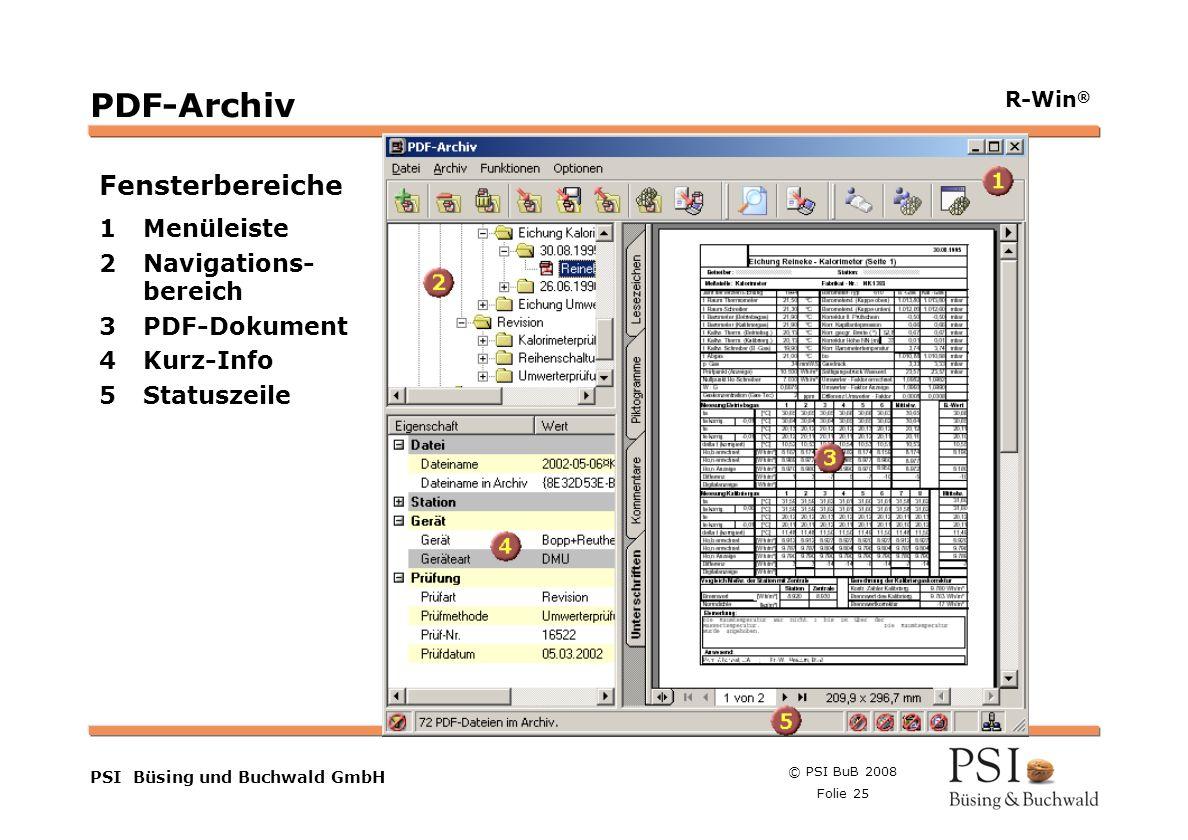 PDF-Archiv Fensterbereiche 1 Menüleiste 2 Navigations- bereich