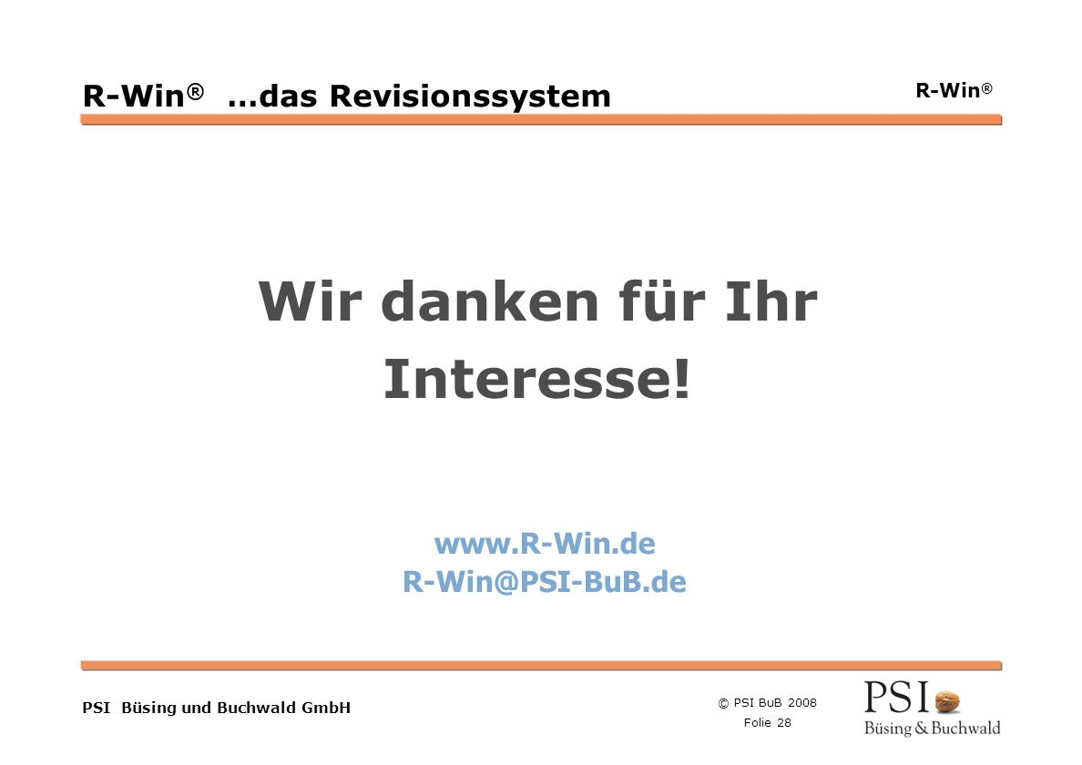 R-Win® …das Revisionssystem